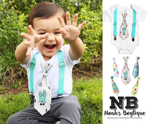 Newborn Boy Easter Outfit with Tan Suspenders and Argyle Neck Tie