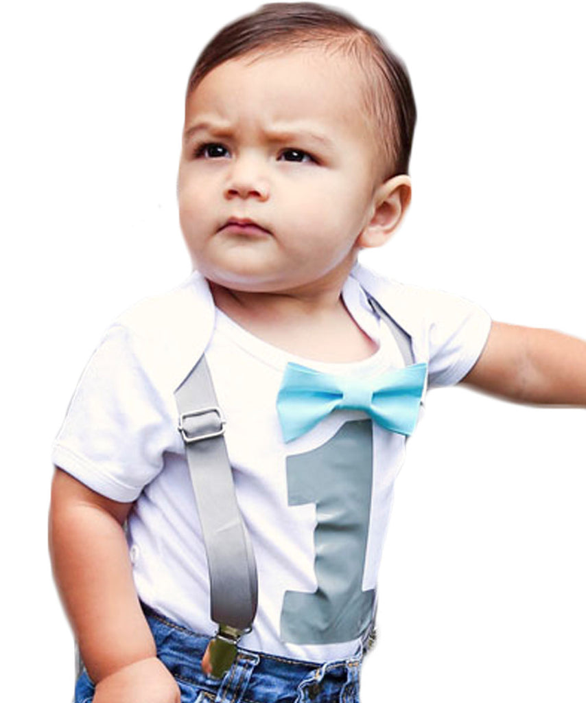 Boys First Birthday Outfit Grey And Aqua Bow Tie Suspenders 1st Onesie Cake Smash
