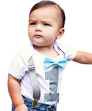 boys first birthday outfit grey and aqua bow tie and suspenders 1st birthday onesie cake smash
