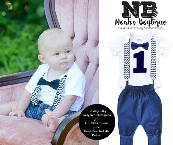 e8ebb91913 Navy Blue Chevron First Birthday Monochrome Outfit with Pants – Noah s  Boytique