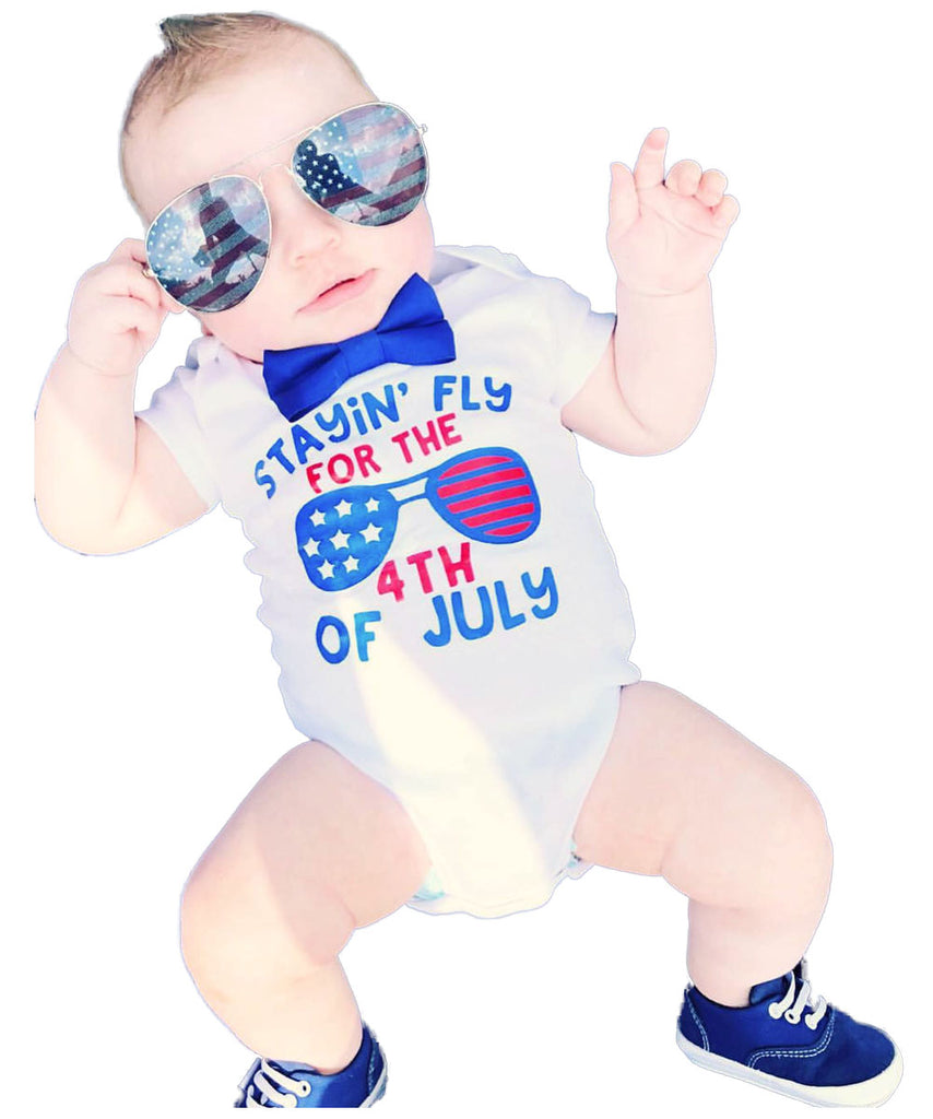 Baby boy fourth of july onesie 4th of july outfit with bow tie stayin fly for the fourth of july funny cute newborn 1st 4th of july
