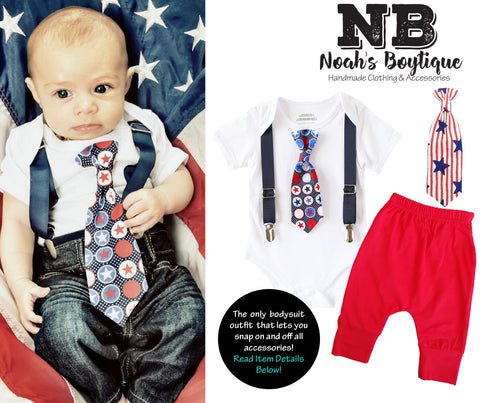 4th of July Outfit Baby Boy  Outfit Patriotic Blue Suspenders and Star Stripe Tie