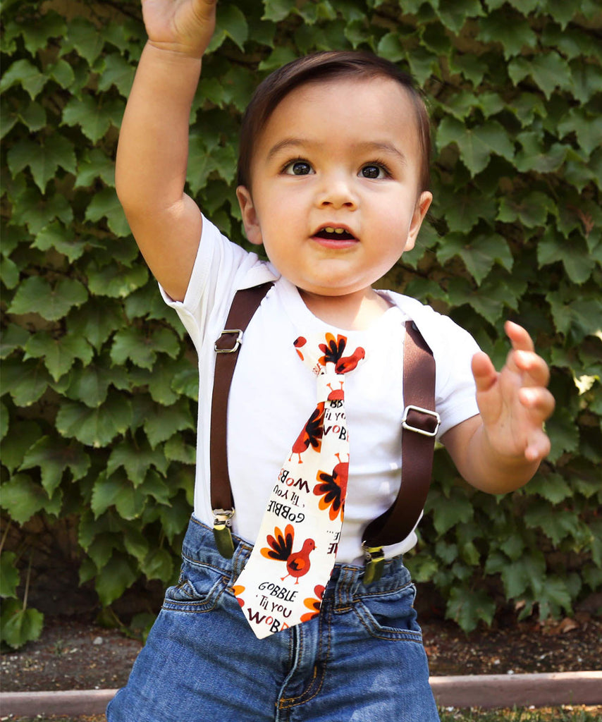 Baby Boy Thanksgiving Outfits - Gobble Til You Wobble Tie - First Thanksgiving - Newborn - Cute Thanksgiving Outfits for Boys - Fall Pumpkin