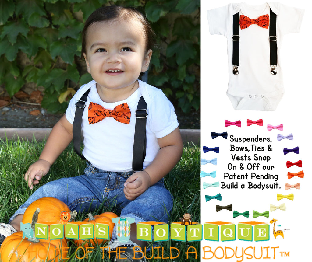 Fabulous Halloween Outfits for Baby Boys Pumpkin Bow Tie and Suspenders  SE75