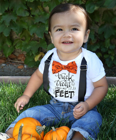 Baby Boy Halloween Outfit Orange and Black Tie with Suspenders