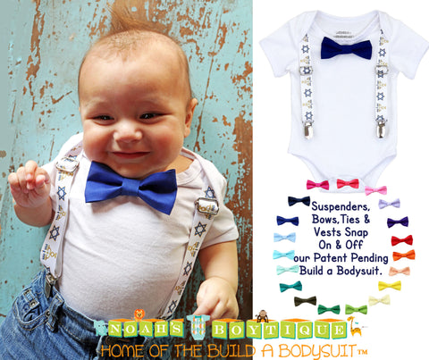Christmas Outfits for Boys Red White Suspenders Green Bow Tie