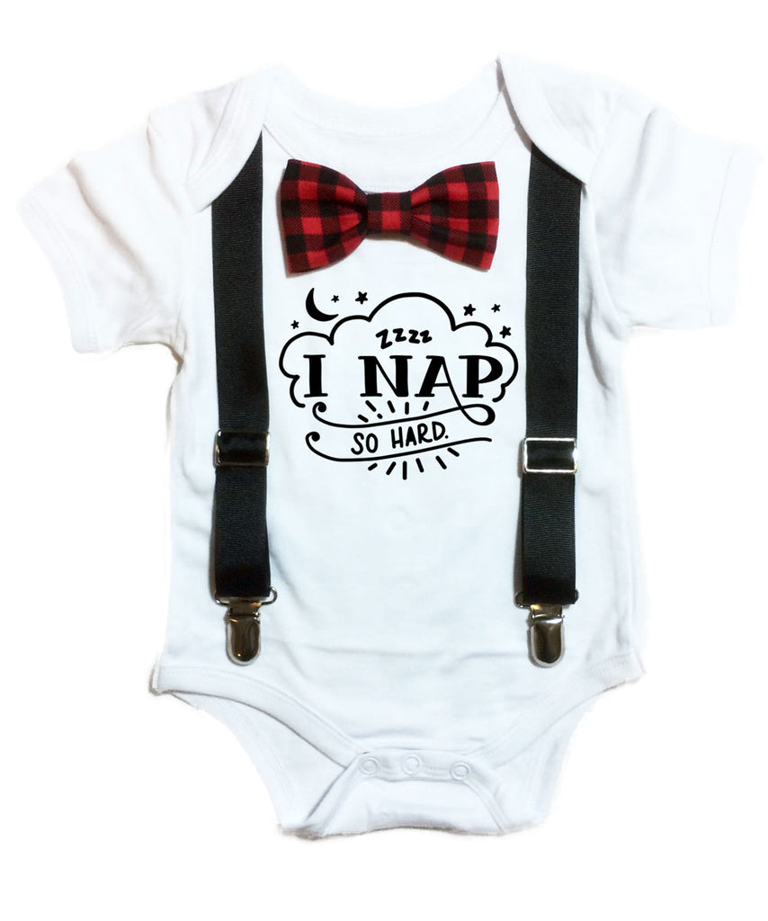 Cute Baby Boy Clothes I Nap So Hard Buffalo Plaid Bow Tie ...