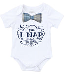 Cute Baby Boy Clothes I Nap So Hard with Blue and Gray Plaid Bow Tie, Long or Short Sleeve, Baby Shower Gift, New Baby Coming Home Outfit Bow Tie Onesie