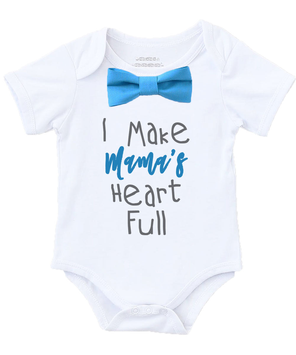 Mothers Day Outfit Baby Boy New Mom Gift Blue Bow Tie Baby