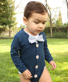 Baby Boy Easter Shirt Cardigan Onesie Outfit - Navy Blue Plaid Bow Tie - Baby Boy Clothes - Baby Shower Gifts for Boys - Navy and Tan - Cute