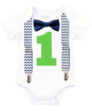 first birthday outfit baby boy navy blue and lime chevron monochrome birthday onesie noah's boytique suspenders bow tie number one cake smash