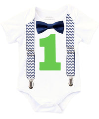 navy and lime first birthday outfit shirt baby boy