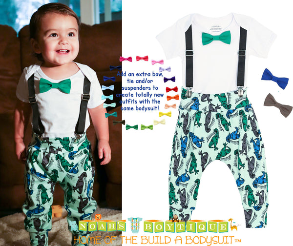 Dinosaur Birthday Outfit - Dinosaur Pants - Green Blue - First Birthday Boy - Dinosaur Boy Clothes - Dinosaur Gift Set - Coming Home Outfit - Hipster - Harem Pants - Boys First Birthday Outfit