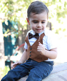 Fall Baby Clothes Boy - Brown Suede Fall Print Bow - Interchangeable Bow Ties - Picture Outfit - Rustic - Ranch - Farm - Vest Bow Tie Shirt