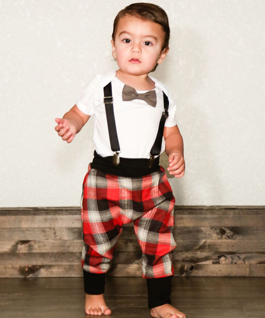 2364b2d79ce7 hipster baby boy clothes - baby boy outfit - plaid pants - red - grey ...
