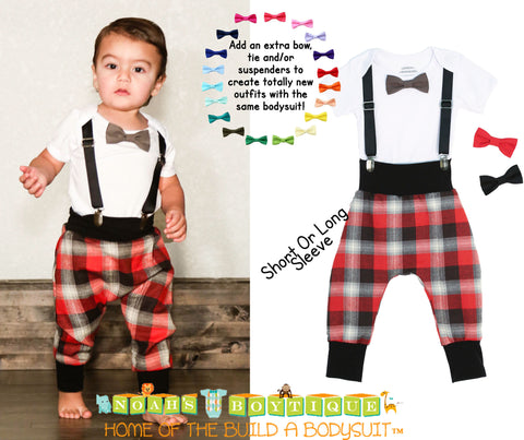 Baby Boy Suspender Outfit - Light Blue Plaid Tie - Tan Suspenders - Baby Boy Clothes - Toddler - Tie Outfit - Baby Ties - Spring - Wedding - Noah's Boytique