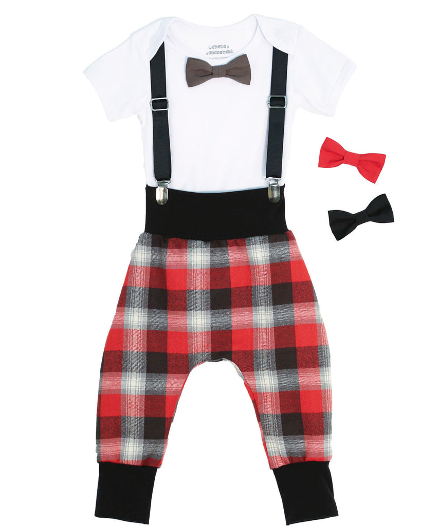 hipster baby boy clothes - baby boy outfit - plaid pants - red - grey - black - suspender onesie - Suspenders bow tie - baby boy gift set - baby shower gift - Baby boy valentines day outfit