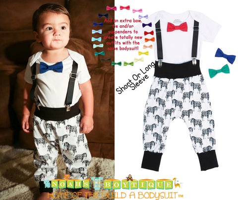 Take Home Outfit Baby Boy Grey Chevron Suspenders Mint Bow Tie