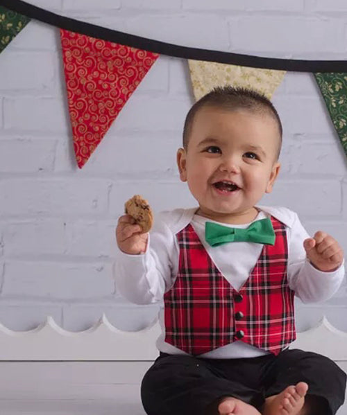 baby boy christmas outfit with vest and bow tie plaid tartan cute shirt first christmas card santa shirt long sleeve