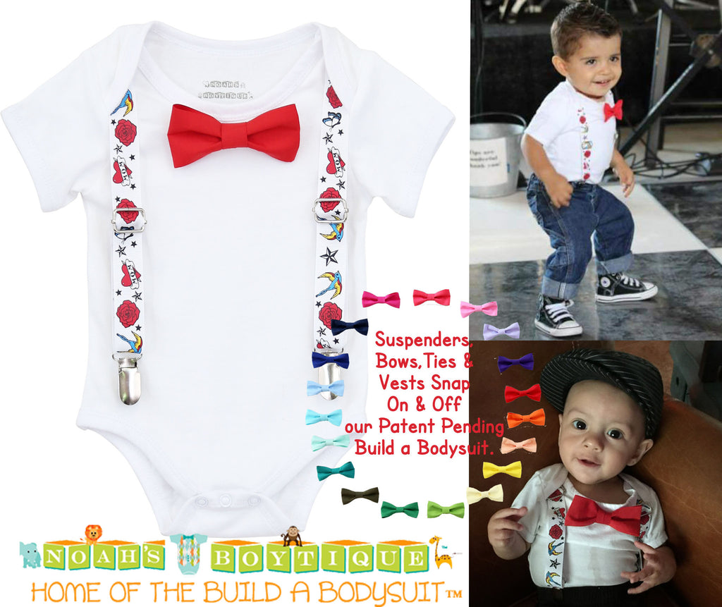 0ee86383e032 Rockabilly Punk Rock Tattoo Baby Outfit with Suspenders Bow Tie ...
