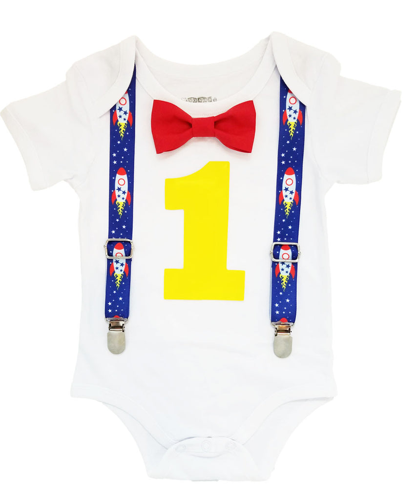 rocket ship first birthday outfit space theme onesie blue yellow red cake smash noah's boytique