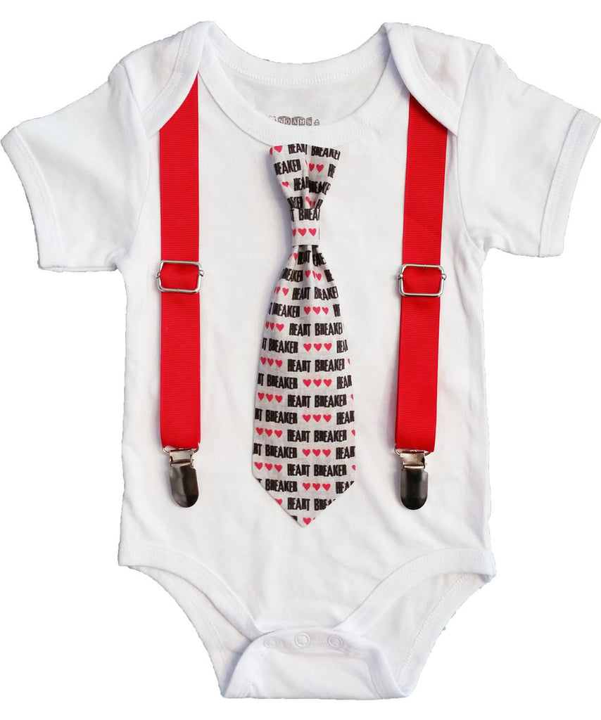 baby boy valentines outfit valentines day outfit heartbreaker tie heart tie and ssupenders - Infant Valentines Day Outfits