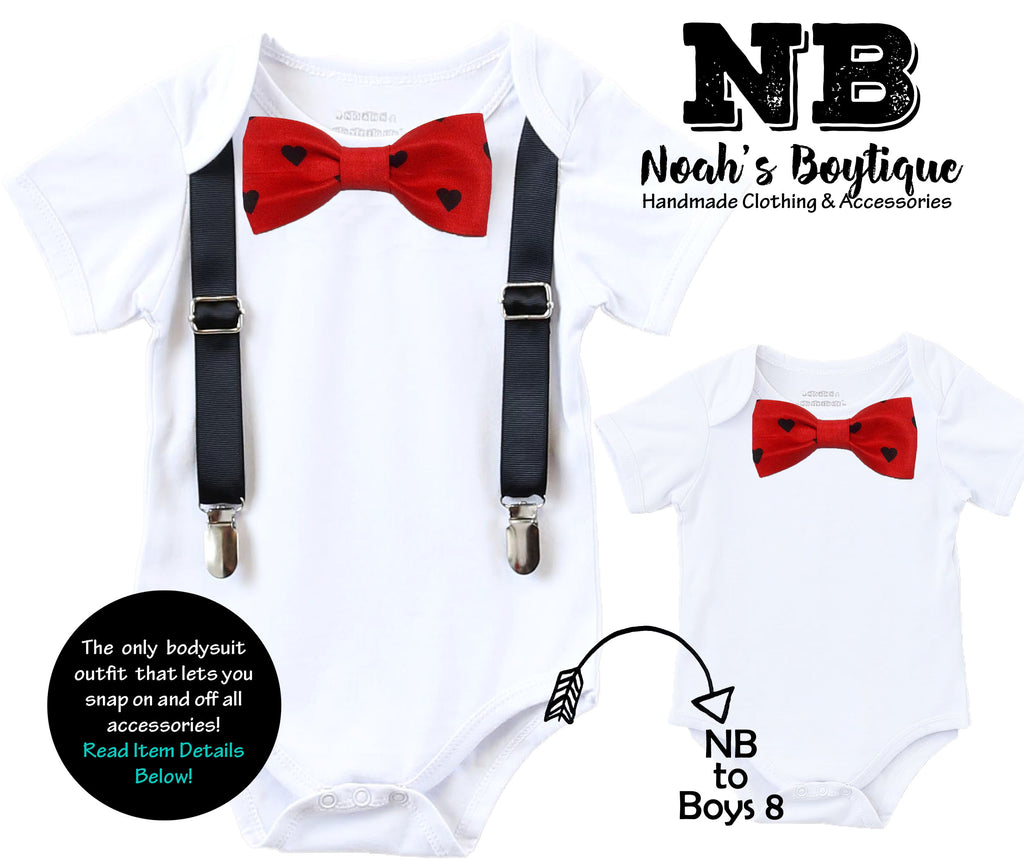 Valentines Day Outfits For Baby Boys Kissing Booth Valentines Onesie Heart  Bow Tie Newborn First Valentines ...