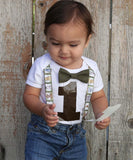 Jungle Safari Personalized First Birthday Shirt Suspenders and Bow Tie