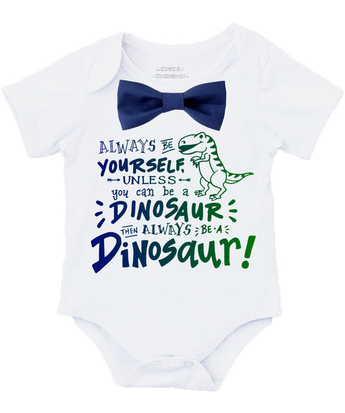 Baby Boy Dinosaur Outfit with Blue or Green Bow Tie - New Baby Gift Ideas for Boys - Dinosaur Birthday Outfit - Clothes for Toddler Boys