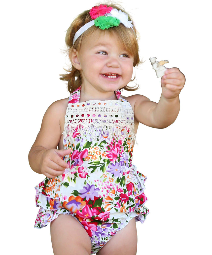 df83a2b5867 Baby Girls Bright Floral Vintage Romper With Lace Trim – Noah s Boytique