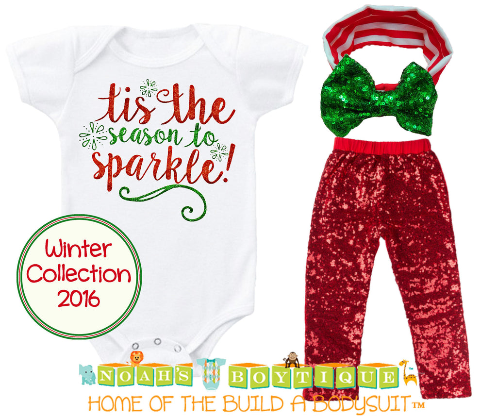Baby Toddler Girl Christmas Outfit Sparkle Red Sequins Bow – Noah\'s ...