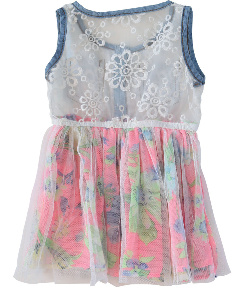 Toddler Girl Denim Lace and Floral Skirt Bottom Dress
