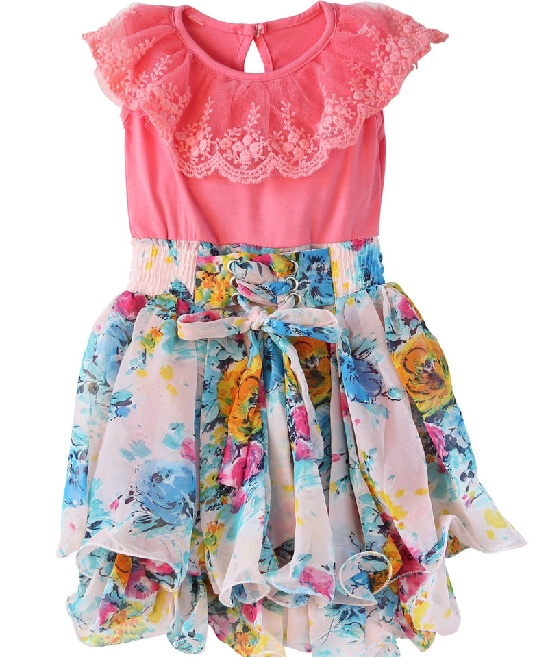 Baby Girl Dress with Pink Top and Colorful Floral Print Bottom