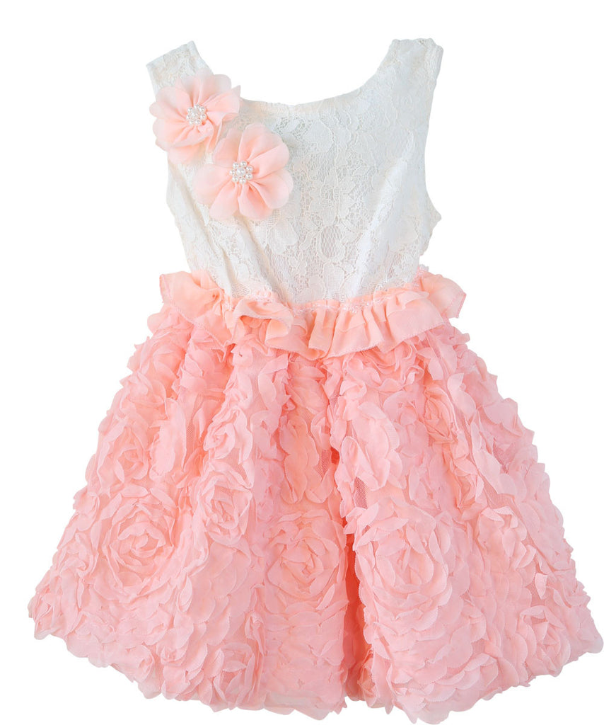 Toddler Girl Peach and White Chiffon Lace Dress