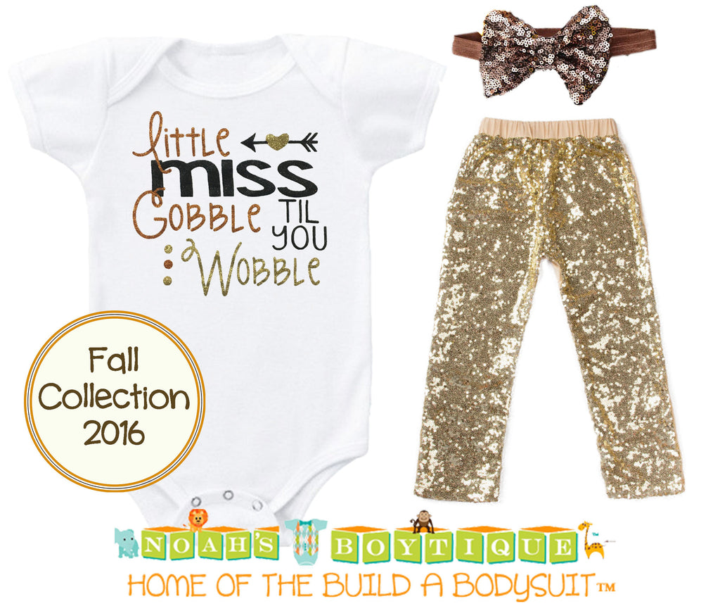 Baby Girl Thanksgiving Outfit Toddler Newborn First Thanksgiving Gobble Til You Wobble Sequin Pants Headband Onesie Bodysuit Brown Orange Gold Twins Siblings