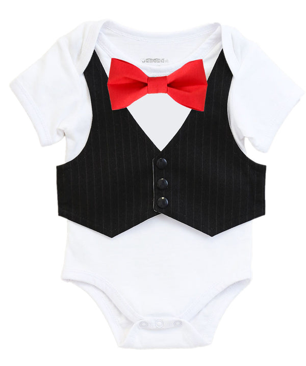 baby boy vest bow tie onesie black and red blue yellow