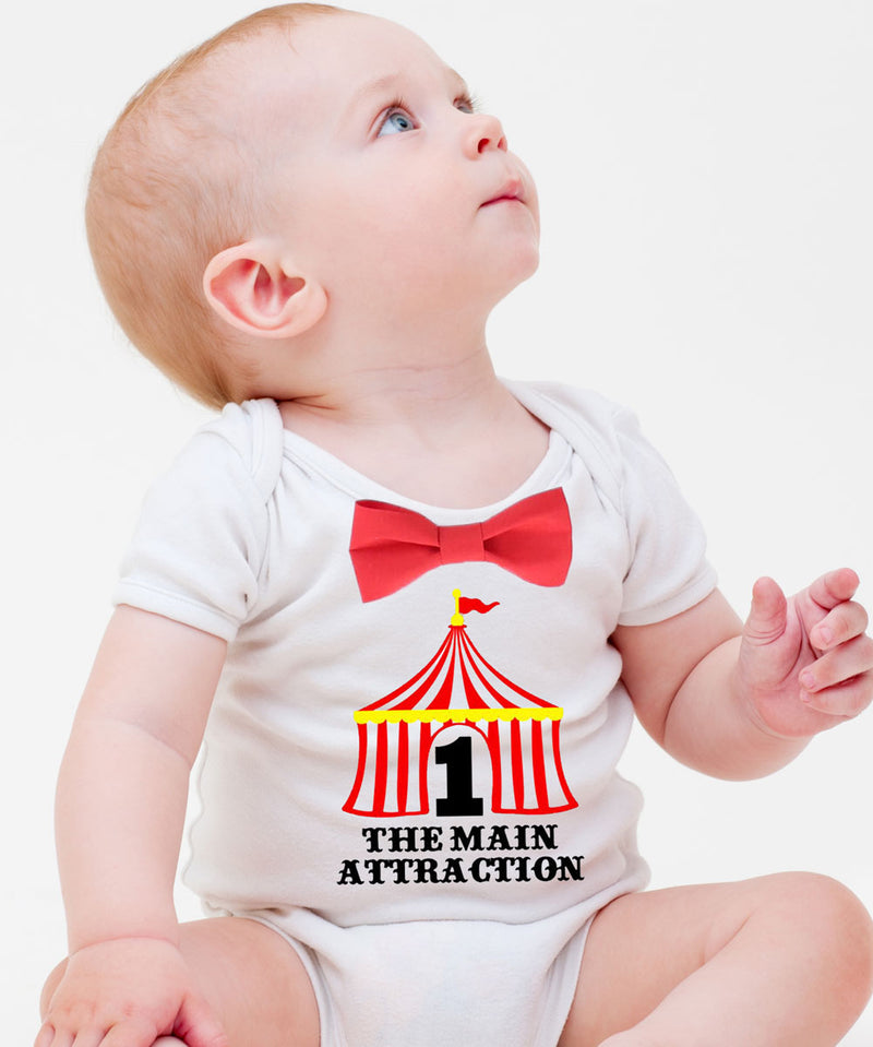 Circus First Birthday Outfit Boy, Circus Tent with Number One, Red and White Stripe Suspenders Bow Tie, Colorful Dots, Carnival Party Shirt Circus First Birthday Onesie