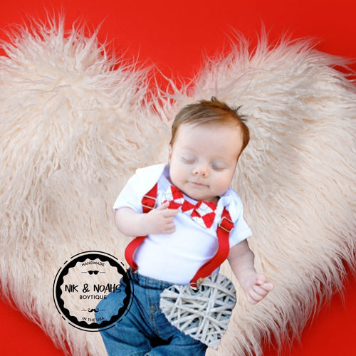 Newborn First Valentines Outfit - Valentines Day Shirt - Suspenders Tie - Kissing Booth - Baby Boy - Valentines Day Outfit - Infant - Clothes - Noah's Boytique Baby Boy Valentines Day Onesie with bow tie