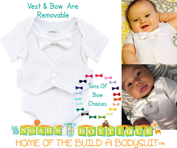 Baby Boy Baptism Outfit - Dedication Outfit for Boy - Baby Baptism Suit - Tuxedo Baby Outfit - White Vest and Tie - Baby Christening - Noah's Boytique