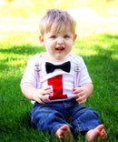 Baseball First Birthday Outfit Baby Boy - Baseball Outfit - Number One Shirt - Baseball Suspenders Black Bow Tie - 1st Birthday - Clothing