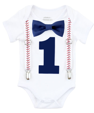 Mr Onederful First Birthday Shirt Navy and Grey with Bow Tie
