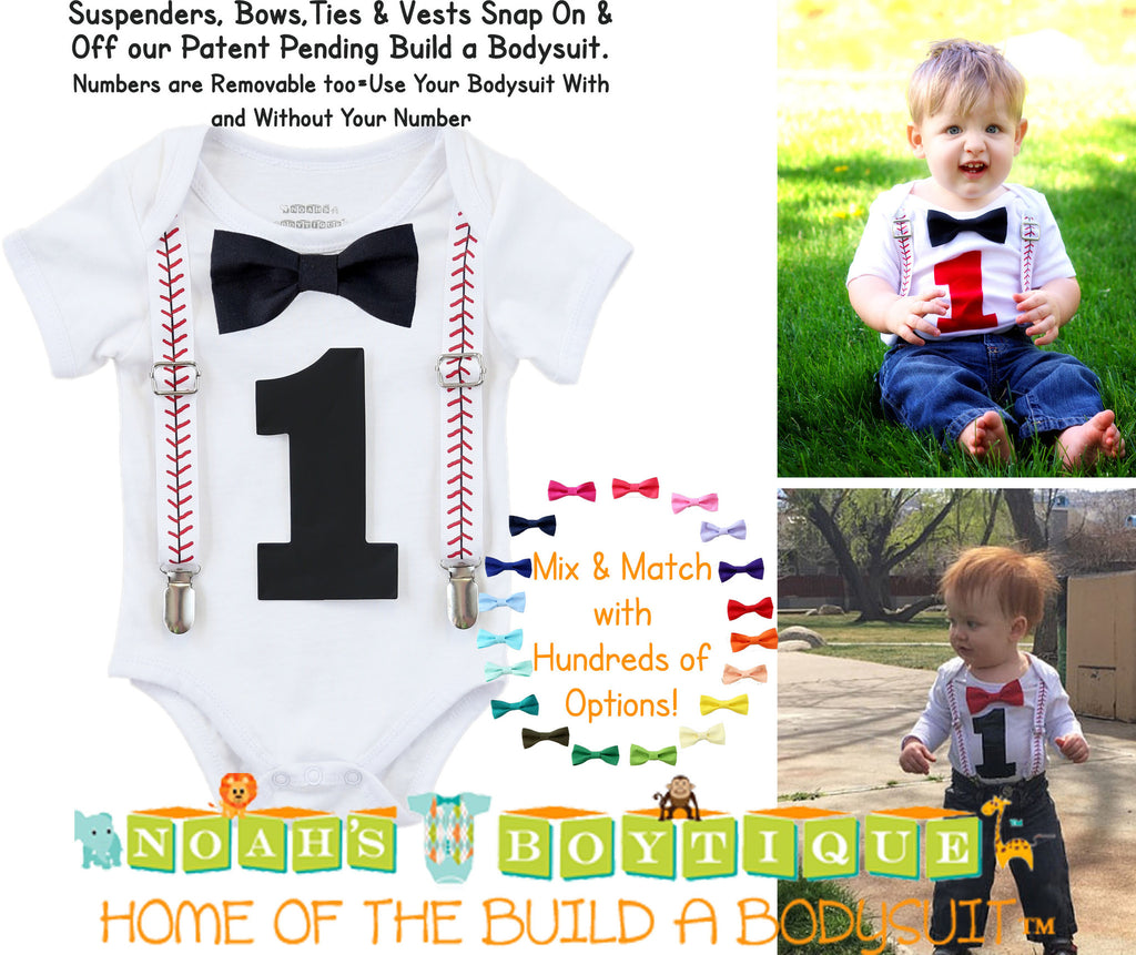 3218980a8352 ... Outfit - Number One Shirt - Baseball Suspenders; Baseball First  Birthday Shirt Baby Boy ...