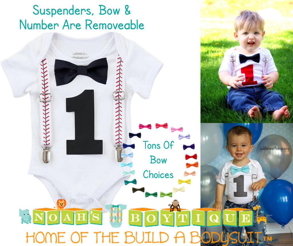 Baseball Stitch Noah's Boytique Bodysuit Suspenders - Snap on Suspenders - Suspender Outfit - Baby Suspenders - Baseball Party - Baseball