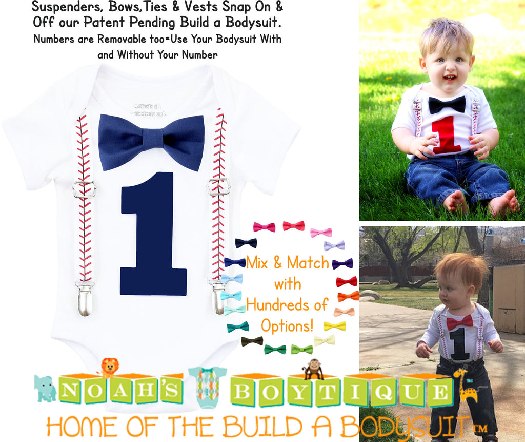 Baseball First Birthday Shirt Baby Boy Noah's Boytique Navy and Red