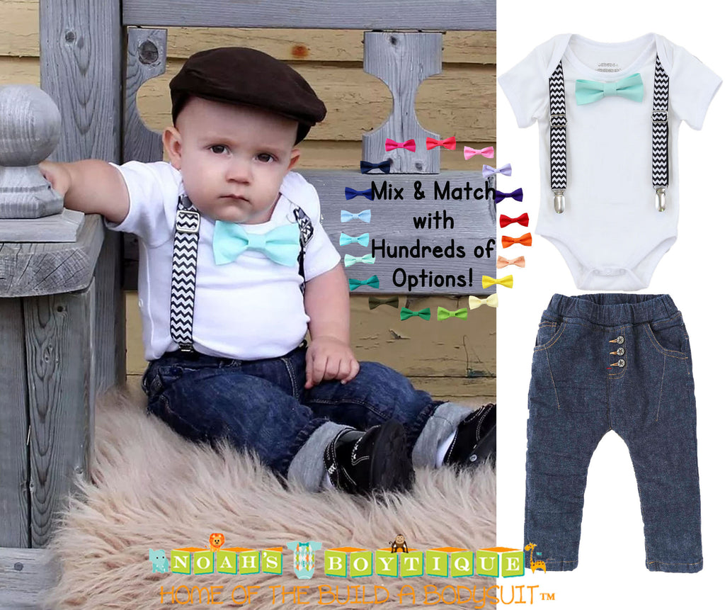 10f4e6edc Baby Boy Outfit Black Chevron Suspenders and Mint Bow Tie
