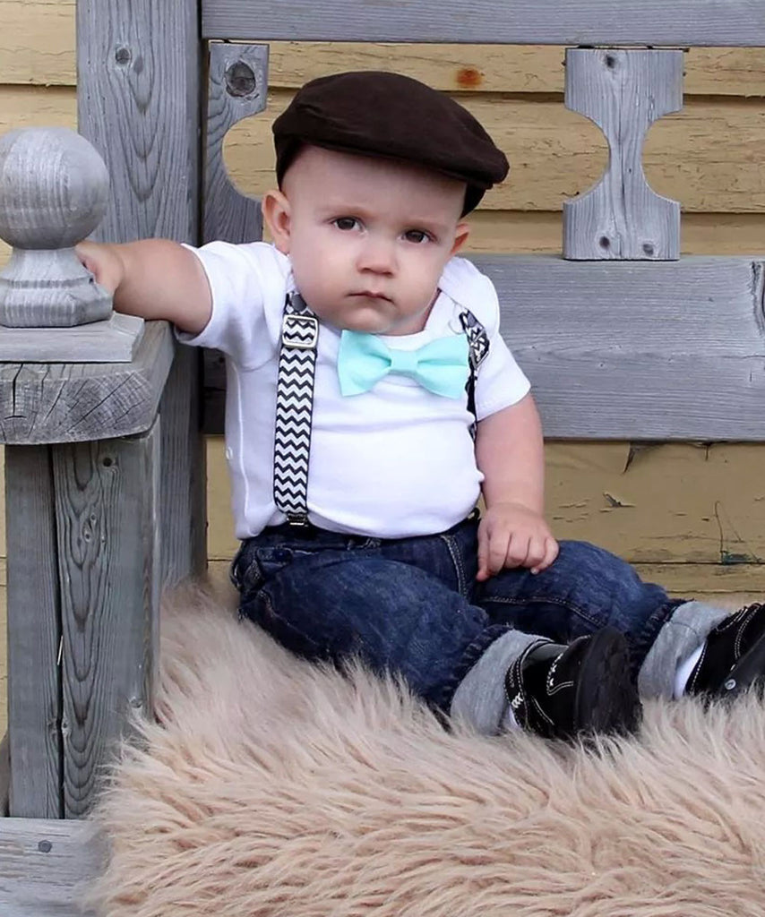 First Birthday Outfit Baby Boy Black Chevron Monochrome Onesie Noahs Boytique Suspenders Bow Tie Number