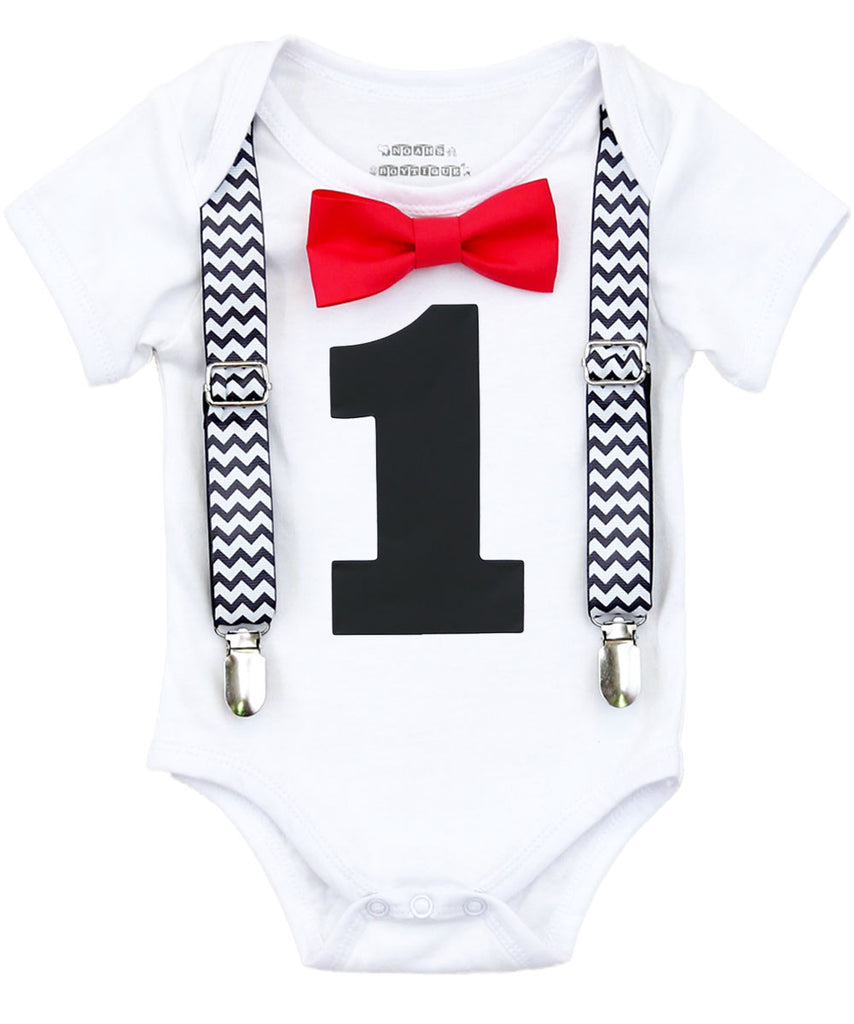 cake smash shirt baby boy black and red chevron noah's boytique