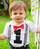 boys first birthday outfit black chevron suspenders red bow tie onesie cake smash shirt 1st birthday