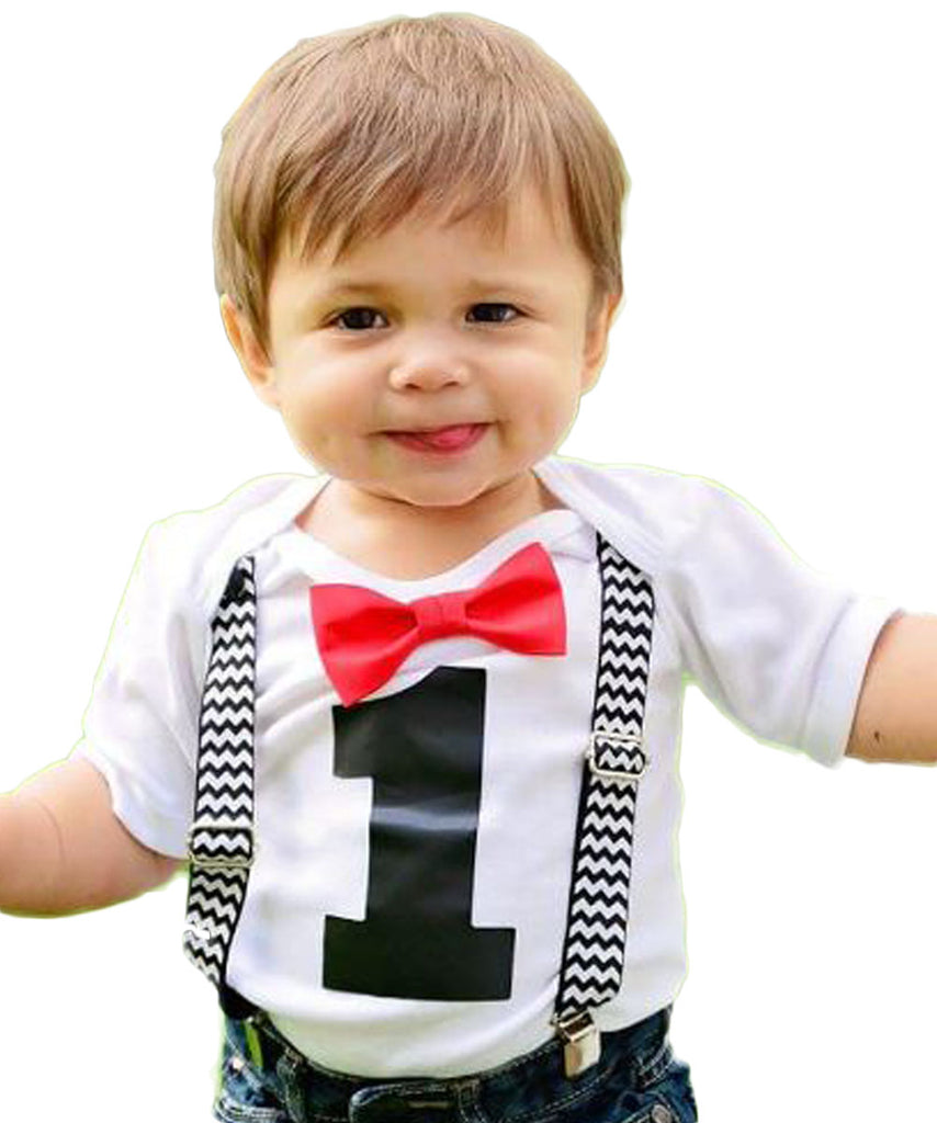 Boys First Birthday Outfit Black Chevron Suspenders Red Bow Tie Onesie Cake Smash Shirt 1st