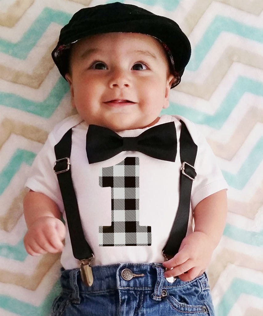 Baby Boy 1st Birthday Outfit.Boys First Birthday Outfit Grey And Black Buffalo Plaid Little Man Party